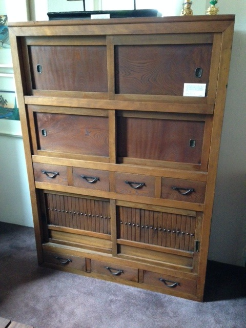 ... Antique Japanese one piece Mizuya-Dansu with 7 drawers and 6 sliding  doors in sugi and hinoki timbers with keyaki drawer fronts. Kyoto, Japan.  c. 1900. - Antique Tall Cabinets Gallery Categories Aptos Cruz